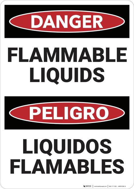 Danger: Bilingual Flammable Liquids - Wall Sign