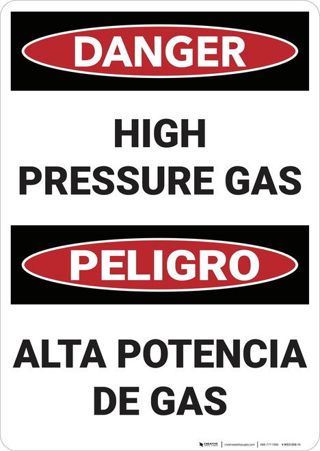 Danger: Bilingual High Pressure Gas - Wall Sign