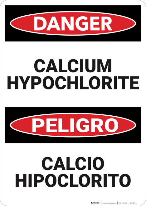 Danger: Calcium Hypochlorite Bilingual  - Wall Sign