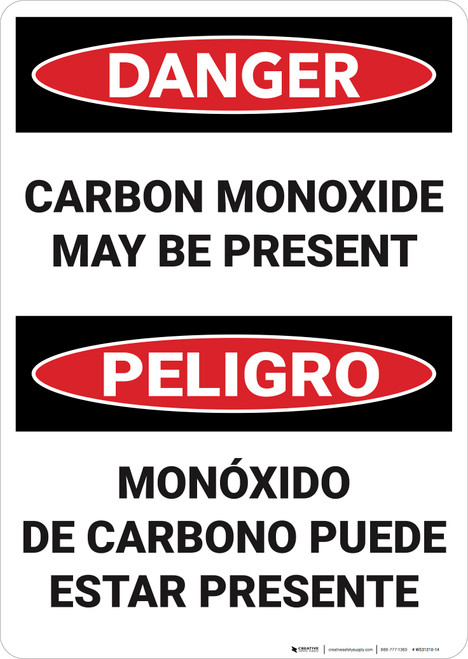 Danger: Carbon Monoxide May Be Present Bilingual  - Wall Sign