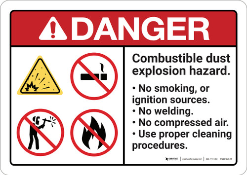 Danger: Combustible Dust Explosion Reminder ANSI - Wall Sign