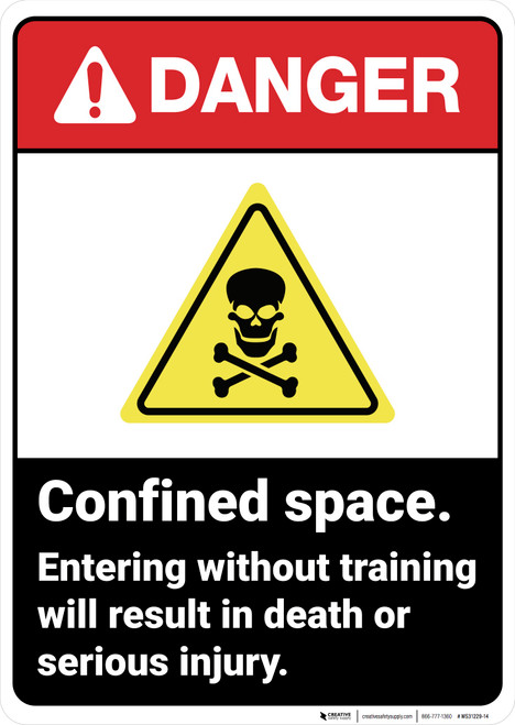 Danger: Confined Space Do Not Enter Without Training - Wall Sign