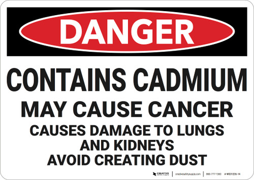 Danger: Contains Cadmium  - Wall Sign