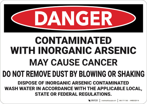 Danger: Contaminated With Inorganic Arsenic  - Wall Sign