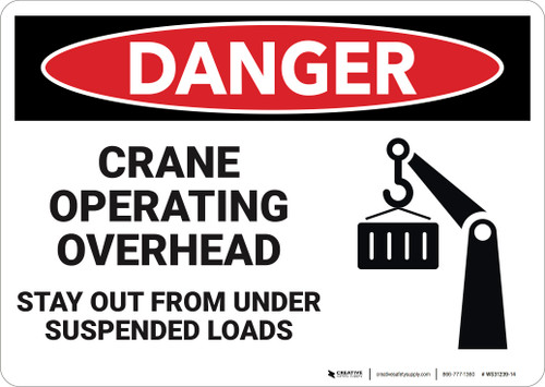 Danger: Crane Operating Overhead Stay Out  - Wall Sign