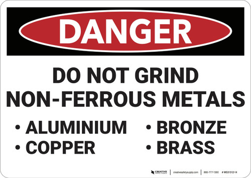 Danger: Do Not Grind Non Ferrous Metal Osha Danger Sign.eps - Wall Sign