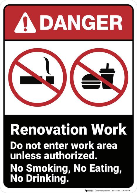 Danger: Renovation Work Do Not Enter ANSI - Wall Sign
