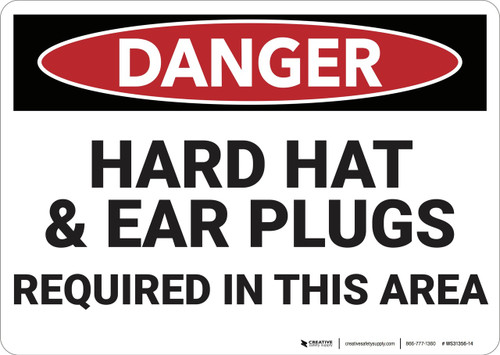 Danger: Hard Hat and Ear Plugs Required - Wall Sign