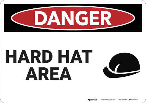 Danger: Hard Hat Area - Wall Sign