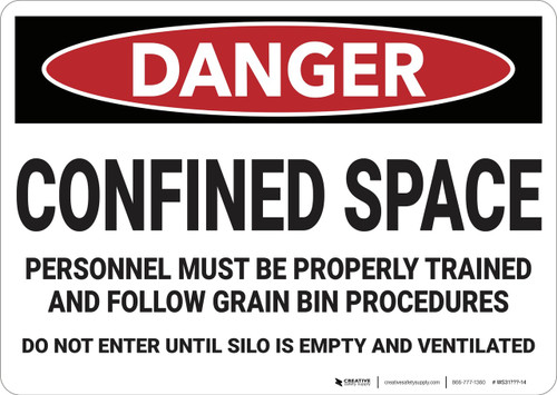 Danger: Confined Space Properly Trained Personnel - Wall Sign