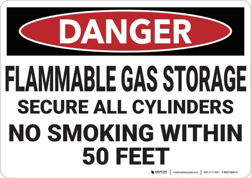 Danger: Flammable Gas Storage Secure Cylinders - Wall Sign
