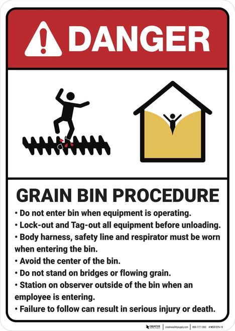 Danger: Grain Bin Procedure - Wall Sign