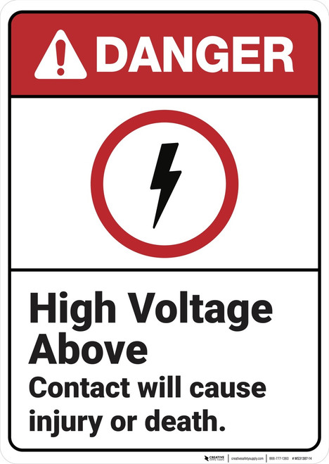 Danger: High Voltage Above - Wall Sign