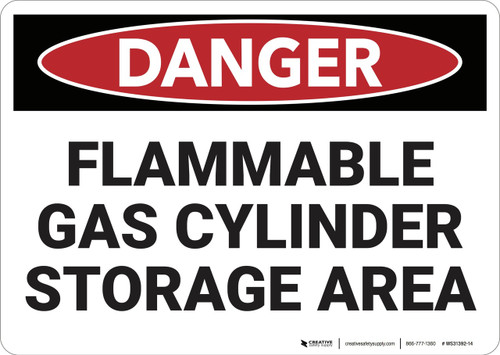 Danger: Flammable Gas Cylinder Storage Area - Wall Sign