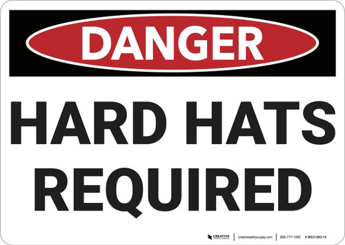 Danger: Hard Hats Required - Wall Sign