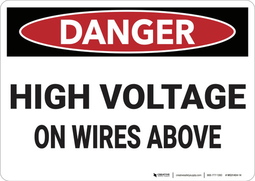 Danger: High Voltage On Wires Above - Wall Sign