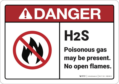Danger: Hydrogen Sulfide May Be Present ANSI - Wall Sign