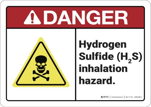 Danger: Hydrogen Sulfide inhalation Hazard ANSI - Wall Sign