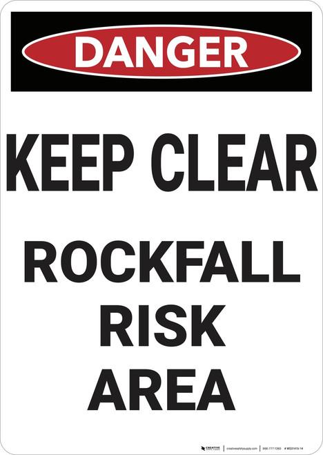 Danger: Keep Clear Rockfall Risk - Wall Sign