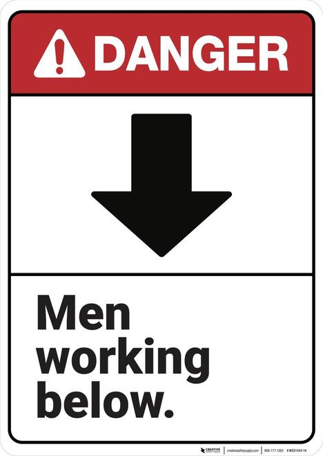 Danger: Men Working Below ANSI - Wall Sign