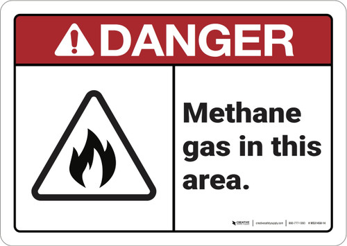Danger: Methane Gas in This Area ANSI - Wall Sign