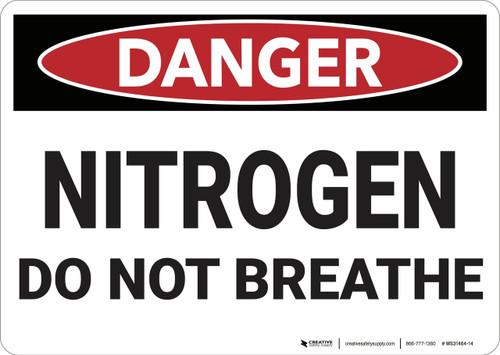Danger: Nitrogen Do Not Breath - Wall Sign
