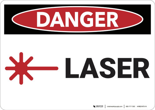 Danger: Laser with Graphic - Wall Sign