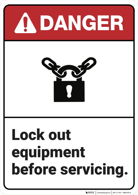 Danger: Lock Out Equipment ANSI - Wall Sign