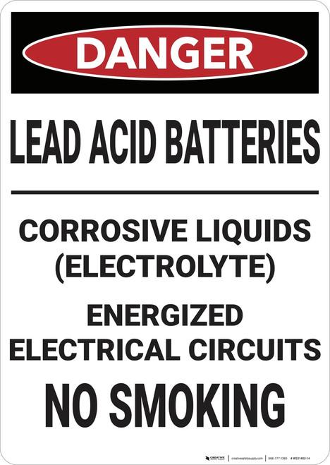 Danger: Lead Acid Batteries - Wall Sign