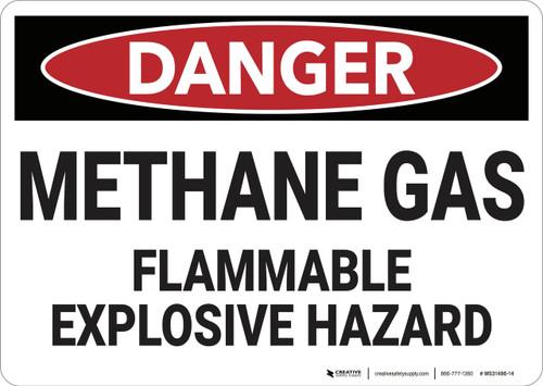 Danger: Methane Gas Flammable Explosive Hazard - Wall Sign