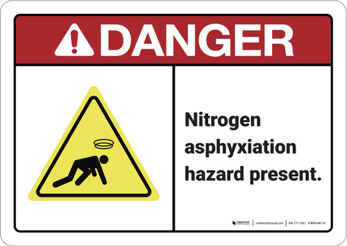 Danger: Nitrogen Asphyxiation Hazard ANSI - Wall Sign