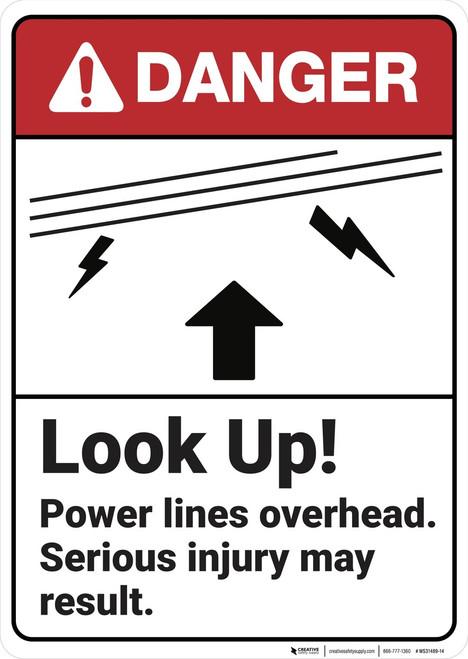 Danger: Look Up Power Lines Overhead - Wall Sign