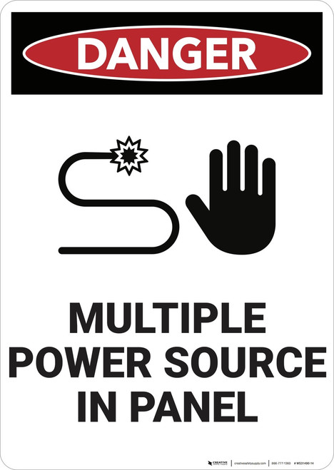 Danger: Multiple Power Source in Panel - Wall Sign