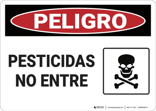 Danger: Pesticides No Entry - Spanish - Wall Sign