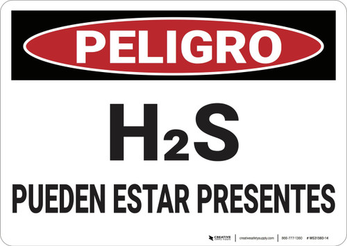 Danger: Hydrogen Sulfide May Be Present - Spanish - Wall Sign