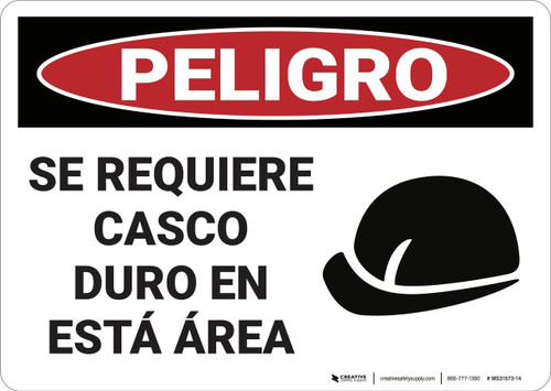 Danger: Hard Hat Required in This Area - Spanish - Wall Sign