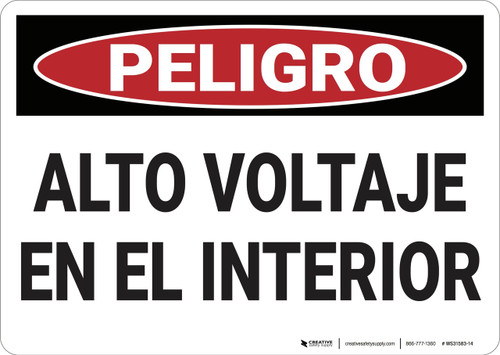 Danger: High Voltage Inside - Spanish - Wall Sign