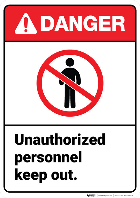Danger: Unauthorized Personnel Keep Out ANSI - Wall Sign