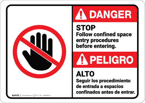 Danger: Follow Confined Space Entry Procedures Bilingual ANSI - Wall Sign