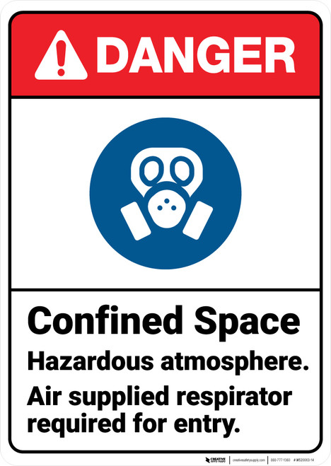 Danger: Confined Space Hazardous Respirator Required ANSI - Wall Sign