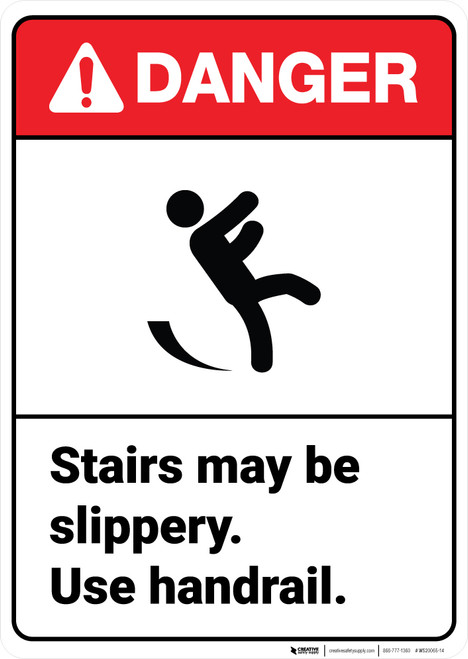 Danger: Stairs Slippery ANSI - Wall Sign