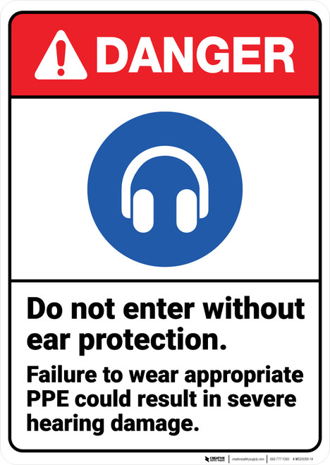 Danger: Do Not Enter Without Ear Protection Wear PPE ANSI - Wall Sign