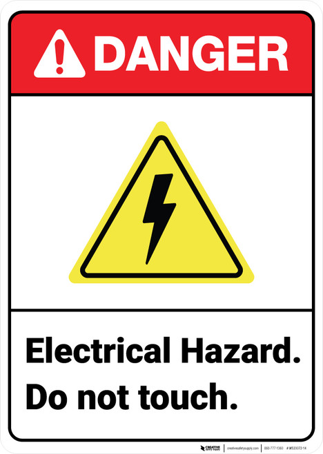 Danger: Electrical Hazard Do Not Touch ANSI - Wall Sign