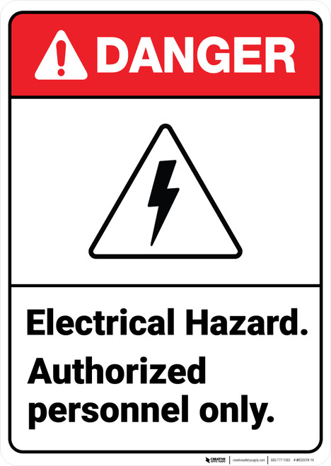Danger: Electrical Hazard Personnel ANSI - Wall Sign