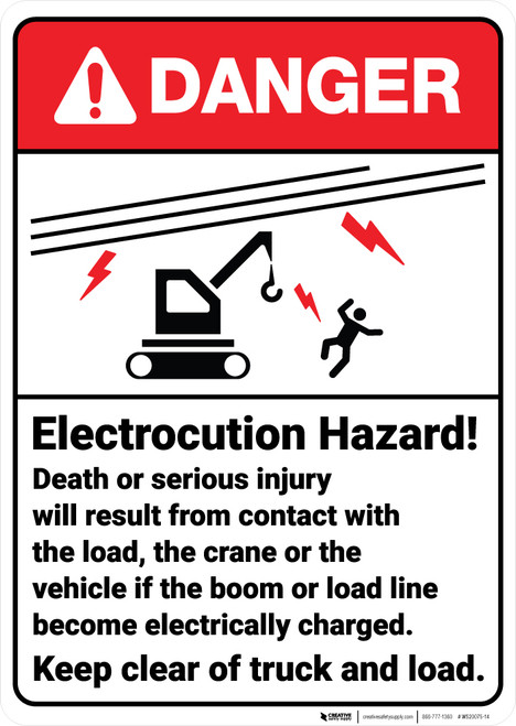 Danger: Electrocution Hazard With Crane ANSI - Wall Sign