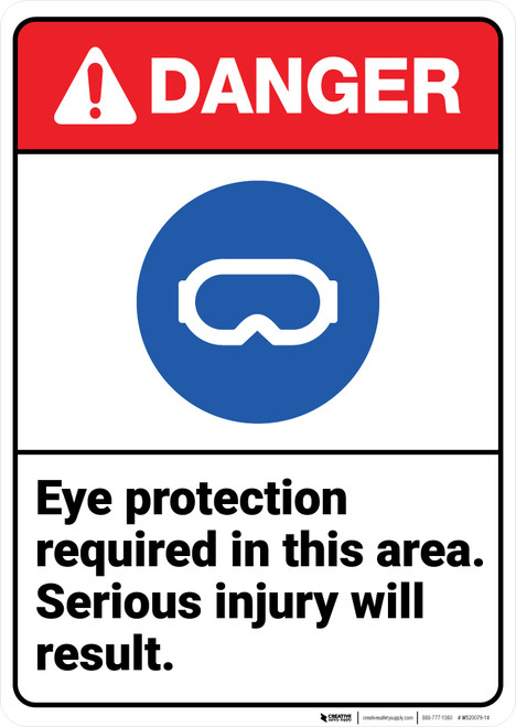 Danger: Eye Protection Required In Area Serious Injury ANSI - Wall Sign