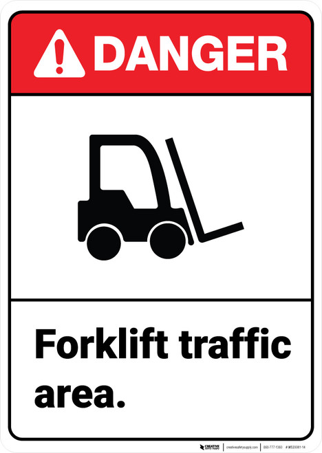 Danger: Forklift Traffic Area ANSI - Wall Sign