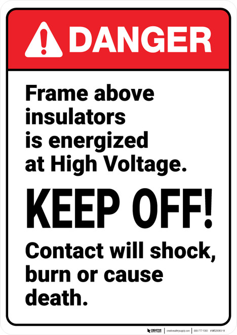 Danger: Frame Above Insulators Is Energized At High Voltage ANSI - Wall Sign