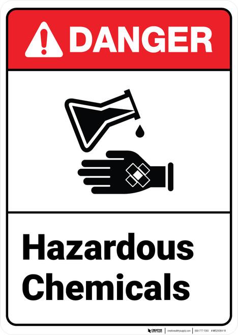 Danger: Hazardous Chemicals ANSI - Wall Sign