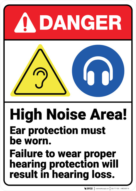 Danger: High Noise Area Wear Hearing Protection ANSI - Wall Sign